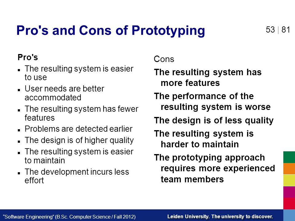 Pro s and Cons of Prototyping