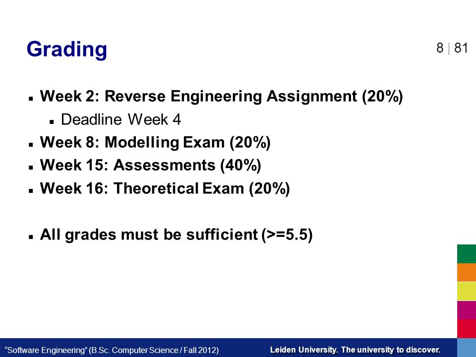 Grading Week 2: Reverse Engineering Assignment (20%) Deadline Week 4