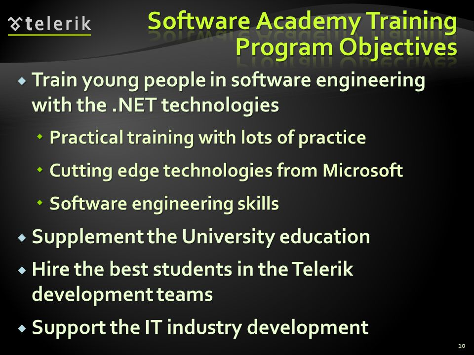 Software Academy Training Program Objectives