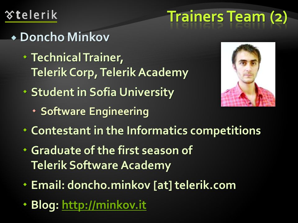 Trainers Team (2) Doncho Minkov