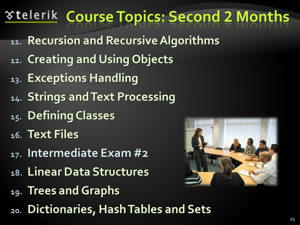 Course Topics: Second 2 Months