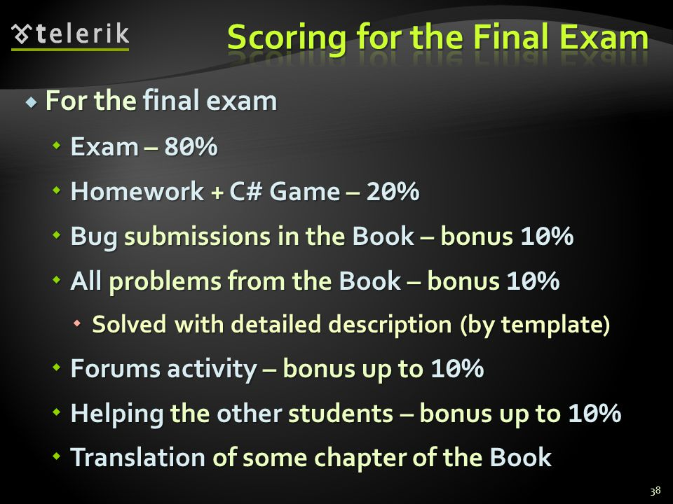 Scoring for the Final Exam
