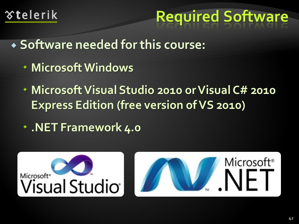 Required Software Software needed for this course: Microsoft Windows