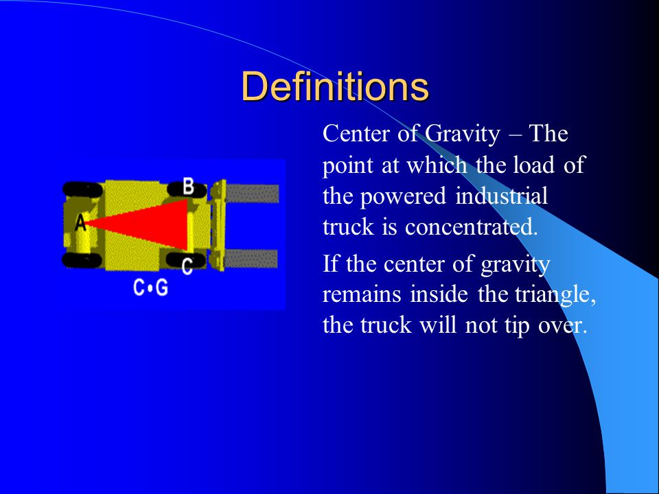 Definitions Center of Gravity – The point at which the load of the powered industrial truck is concentrated.