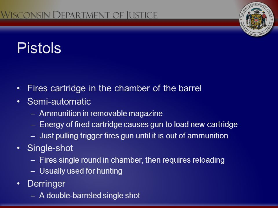 Pistols Fires cartridge in the chamber of the barrel Semi-automatic