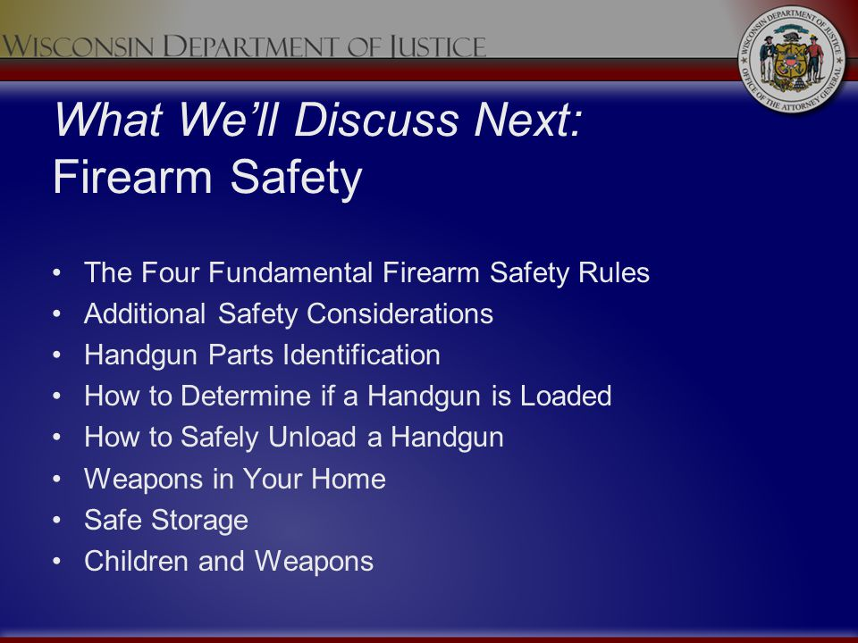 What We'll Discuss Next: Firearm Safety