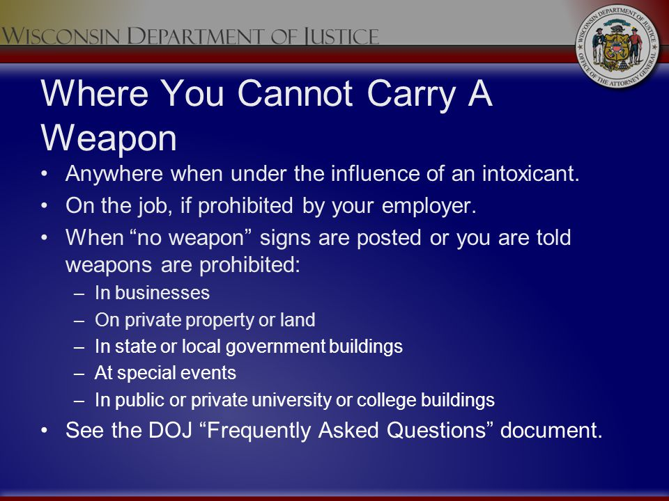 Where You Cannot Carry A Weapon