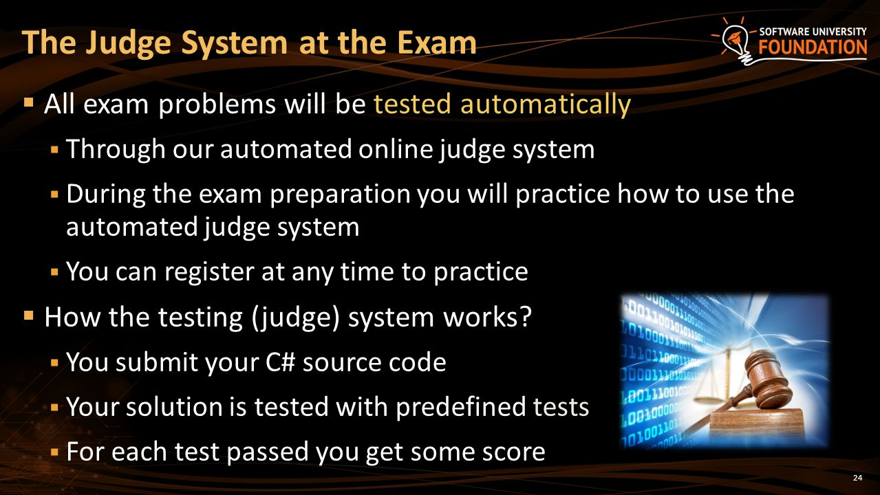The Judge System at the Exam