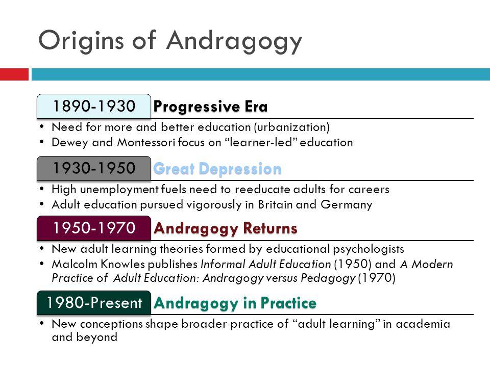 Origins of Andragogy 1890-1930 Progressive Era 1930-1950