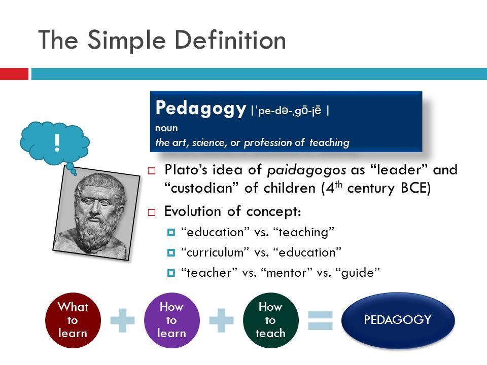 The Simple Definition ! Pedagogy  ˈpe-də-ˌgō-jē  