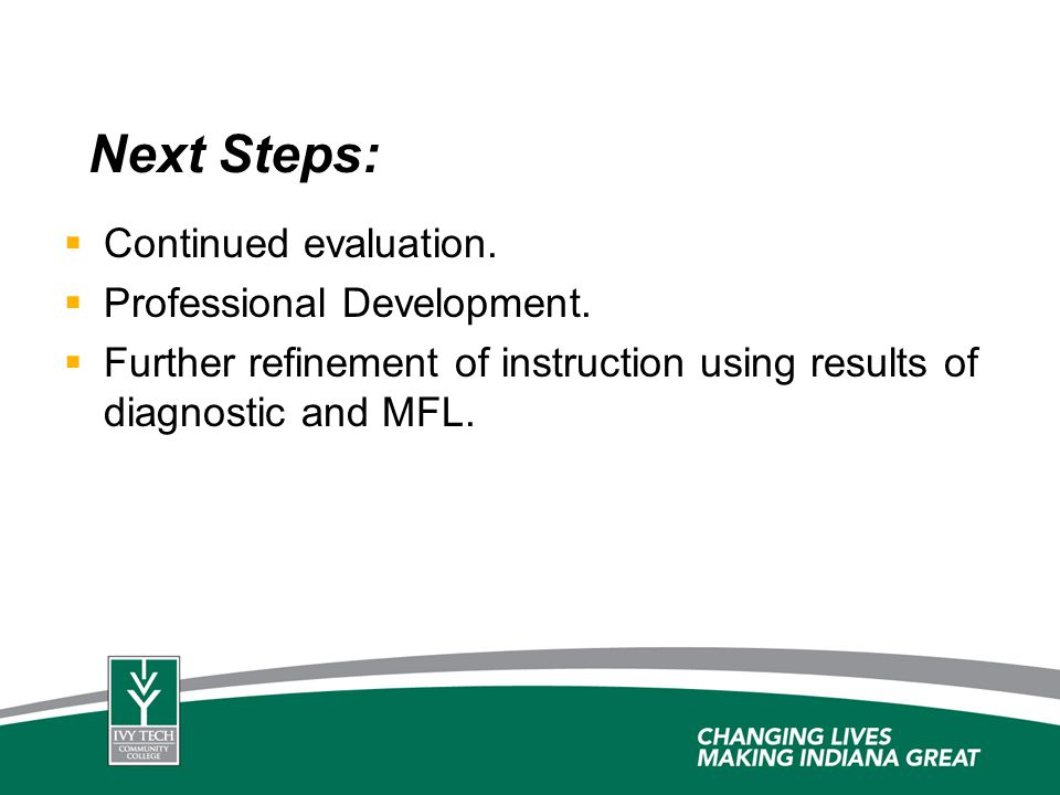 Next Steps: Continued evaluation. Professional Development.