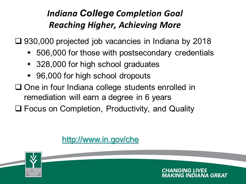 Indiana College Completion Goal Reaching Higher, Achieving More