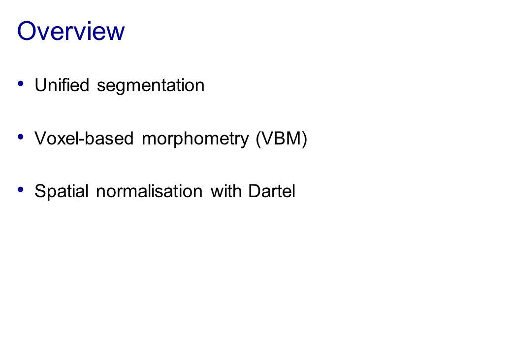 Overview Unified segmentation Voxel-based morphometry (VBM)