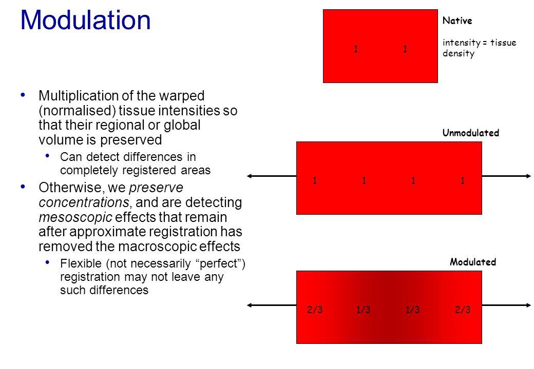Modulation Native intensity = tissue density 1 1