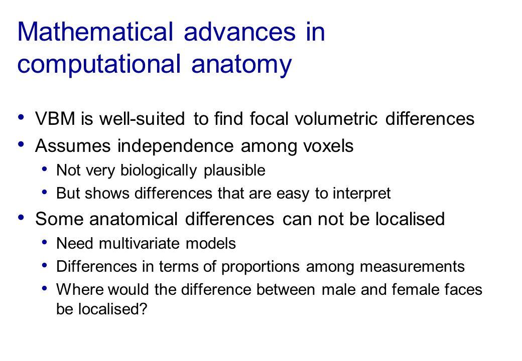 Mathematical advances in computational anatomy