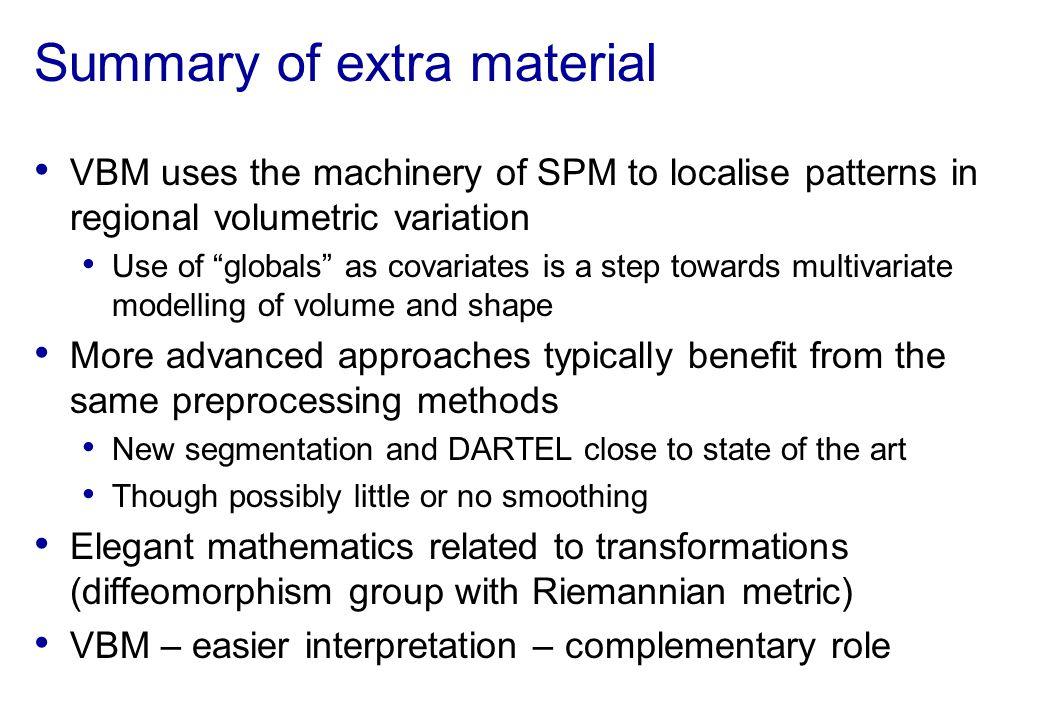 Summary of extra material