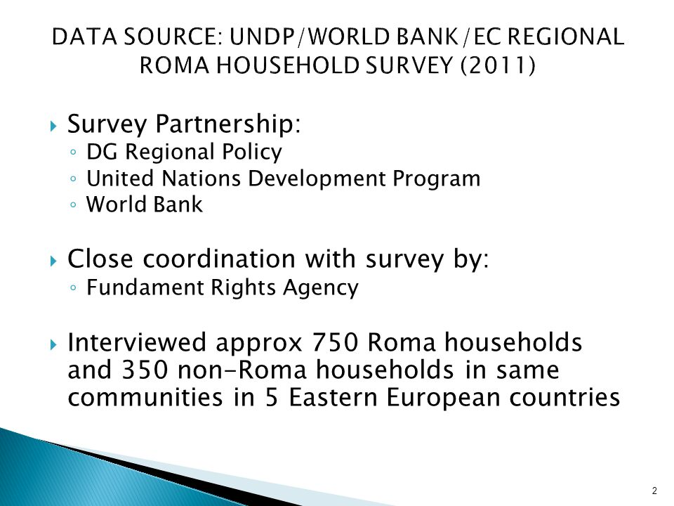 Data Source: UNDP/World bank/ec Regional roma Household Survey (2011)
