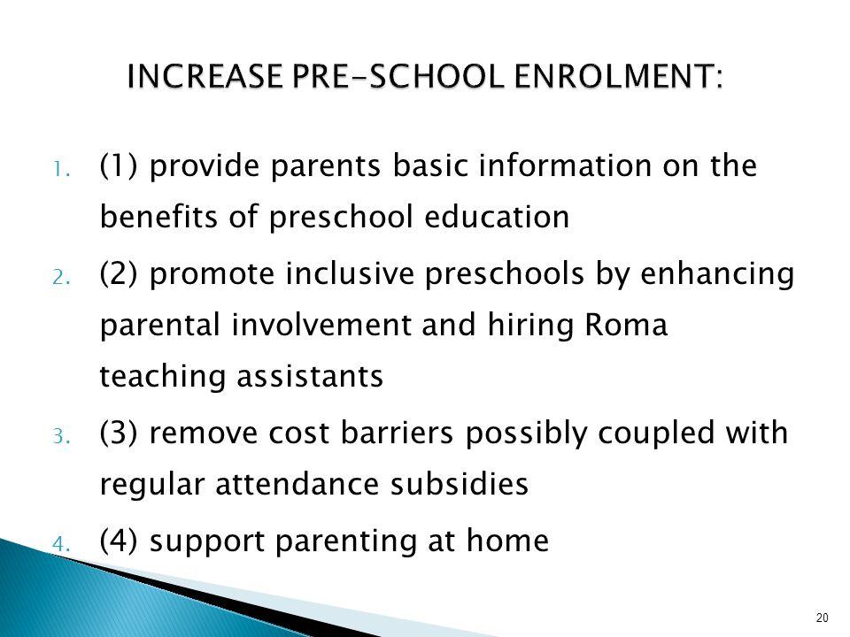 Increase pre-school enrolment:
