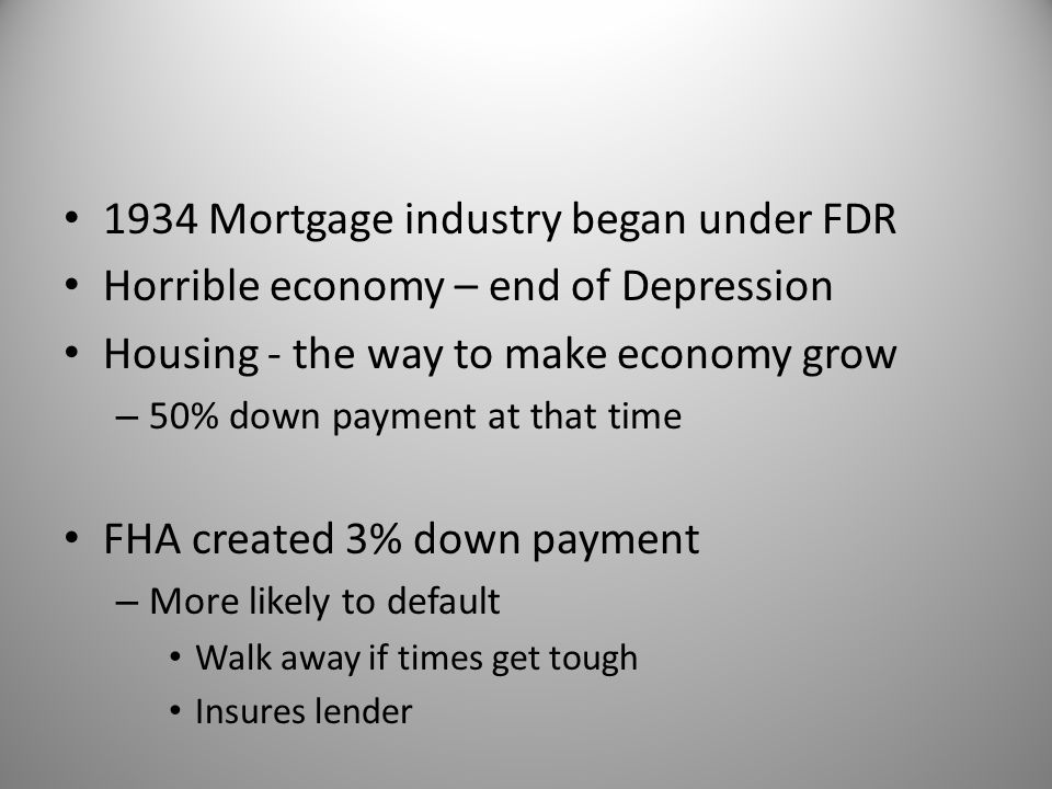 1934 Mortgage industry began under FDR