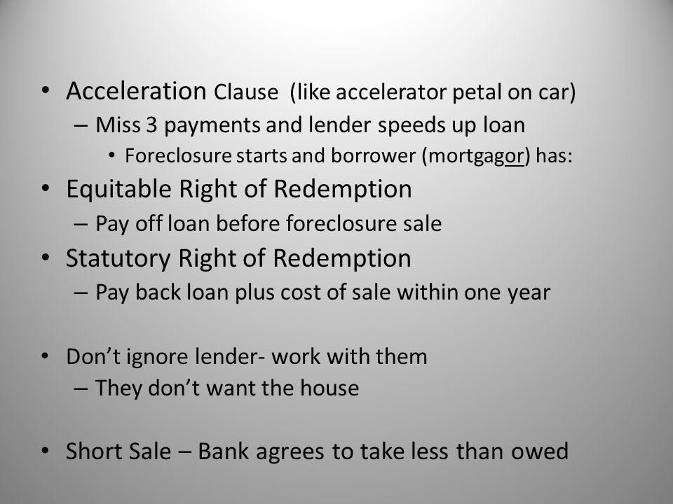 Acceleration Clause (like accelerator petal on car)
