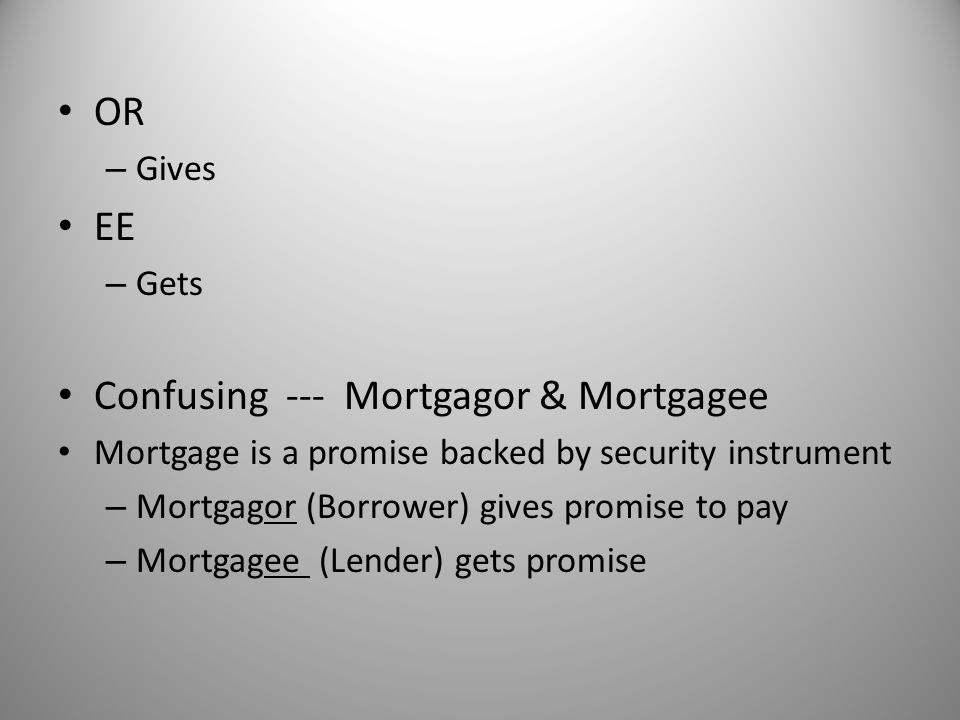 Confusing --- Mortgagor & Mortgagee