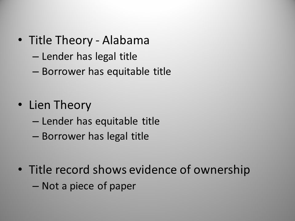 Title record shows evidence of ownership