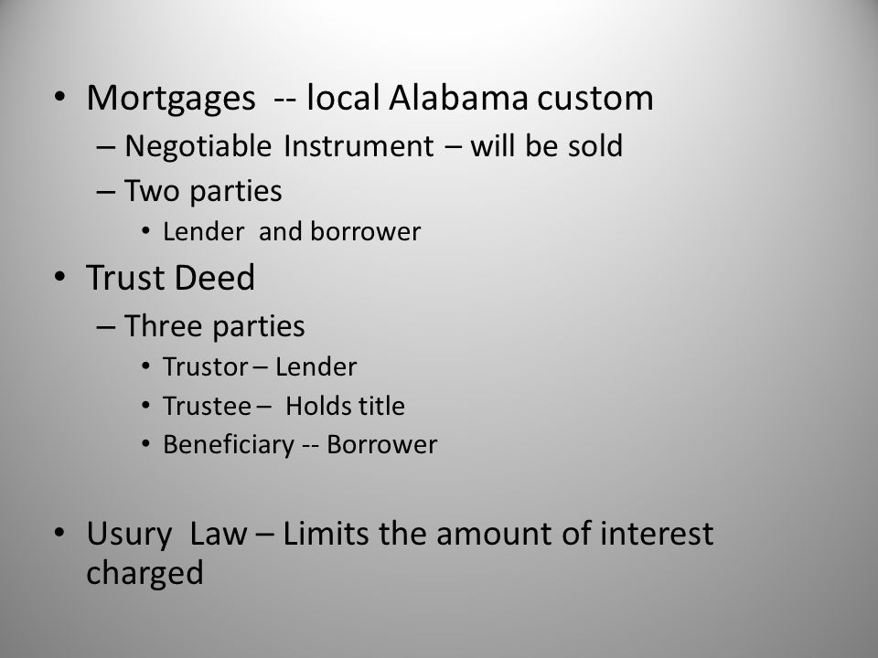 Mortgages -- local Alabama custom