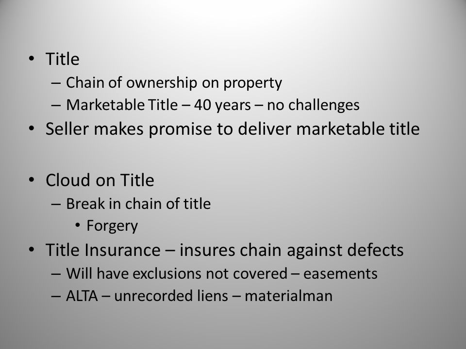 Seller makes promise to deliver marketable title Cloud on Title