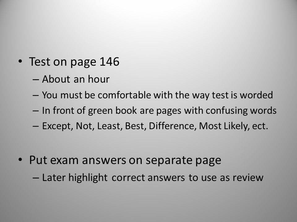 Put exam answers on separate page