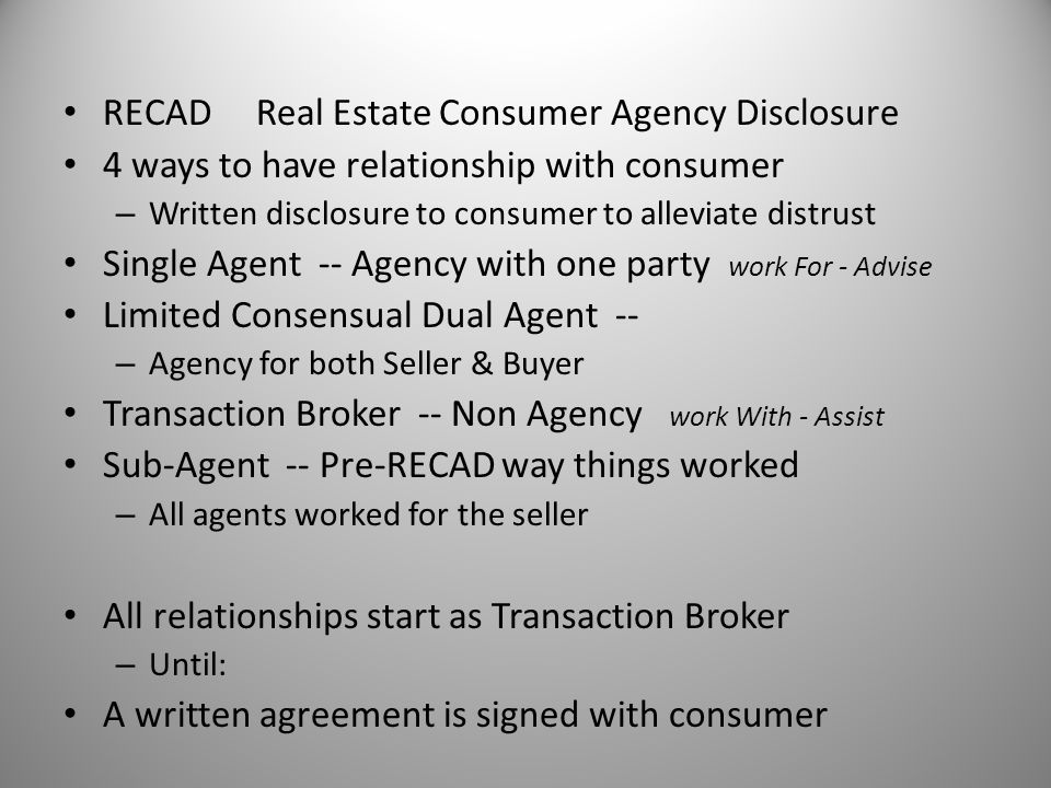 RECAD Real Estate Consumer Agency Disclosure
