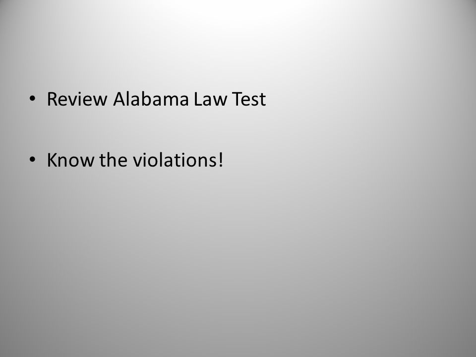 Review Alabama Law Test