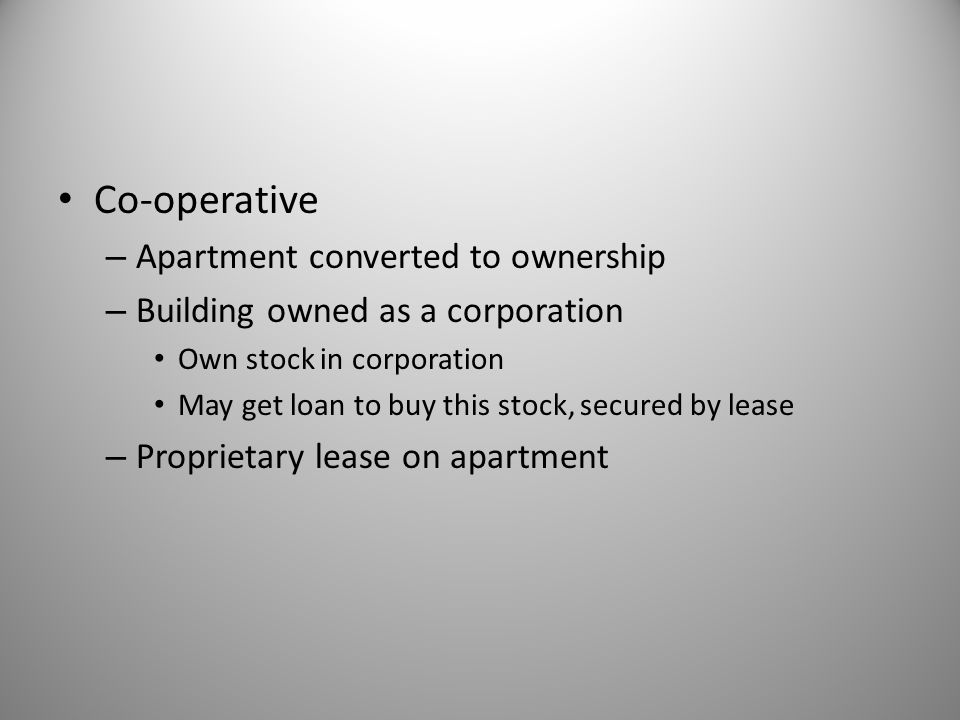 Co-operative Apartment converted to ownership