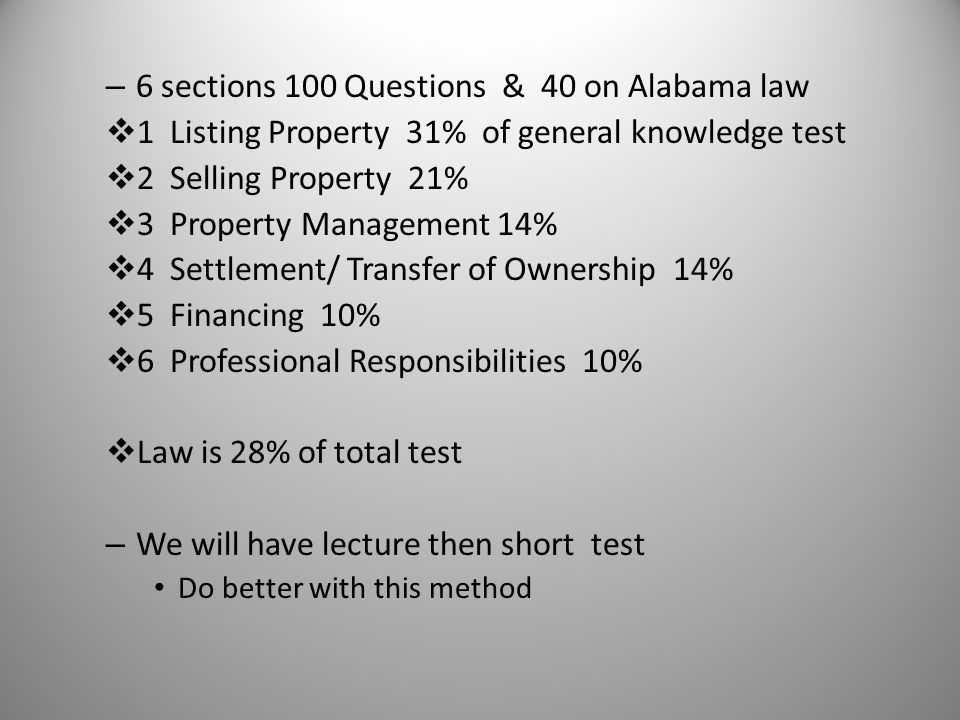 6 sections 100 Questions & 40 on Alabama law