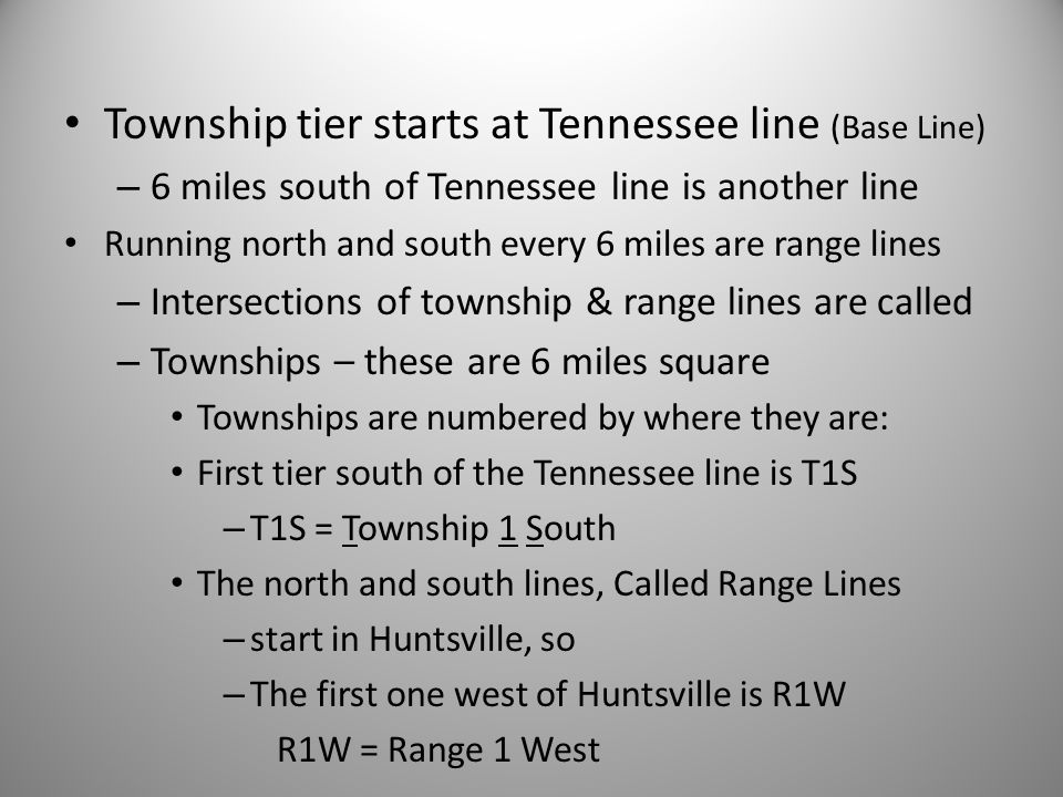 Township tier starts at Tennessee line (Base Line)