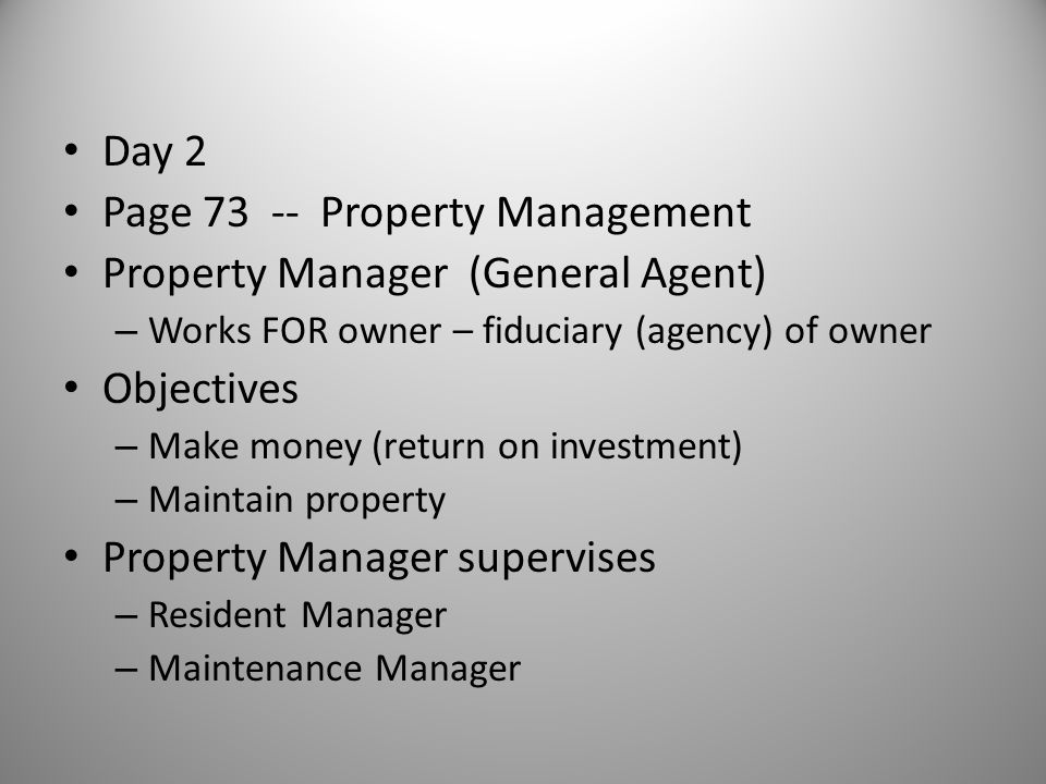 Page 73 -- Property Management Property Manager (General Agent)