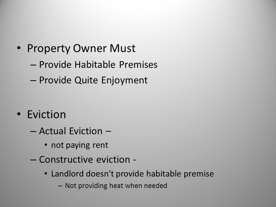 Property Owner Must Eviction Provide Habitable Premises