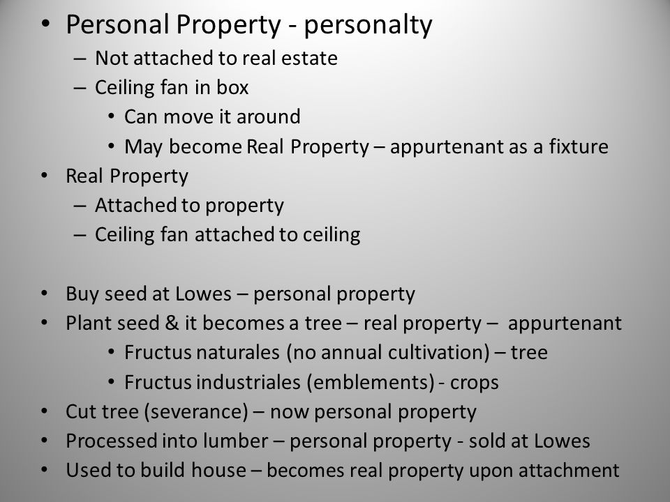 Personal Property - personalty