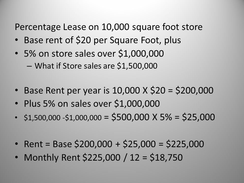 Percentage Lease on 10,000 square foot store