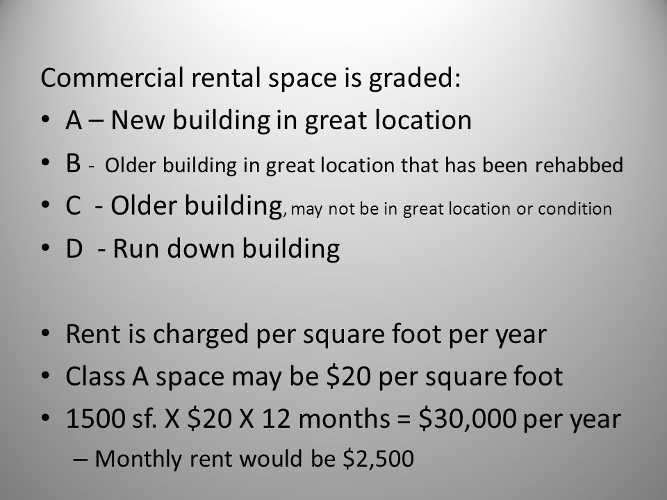 Commercial rental space is graded: A – New building in great location