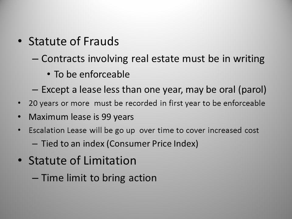 Statute of Frauds Statute of Limitation