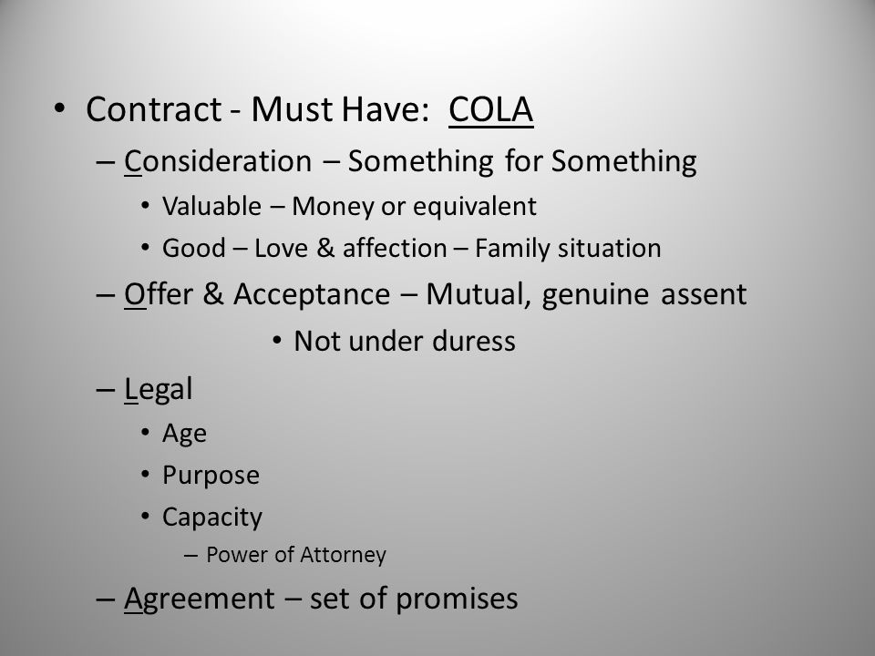 Contract - Must Have: COLA