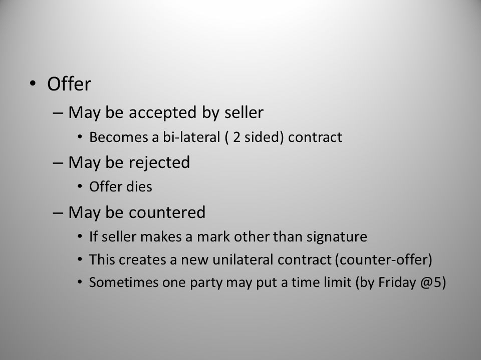 Offer May be accepted by seller May be rejected May be countered