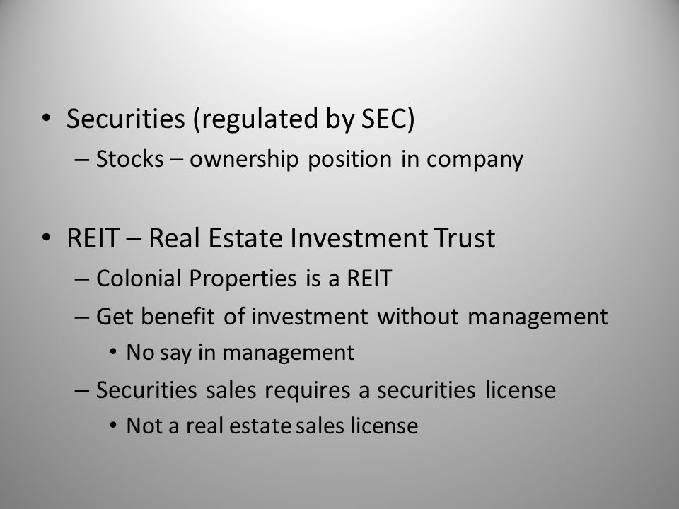 Securities (regulated by SEC)