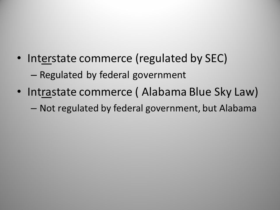 Interstate commerce (regulated by SEC)