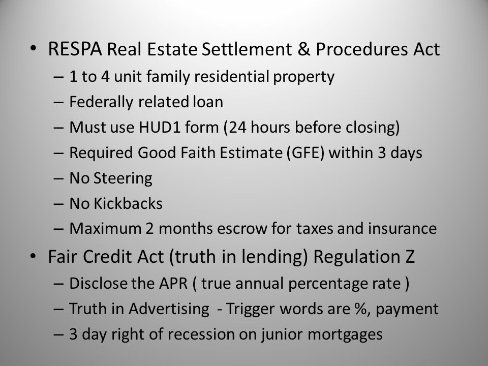 RESPA Real Estate Settlement & Procedures Act
