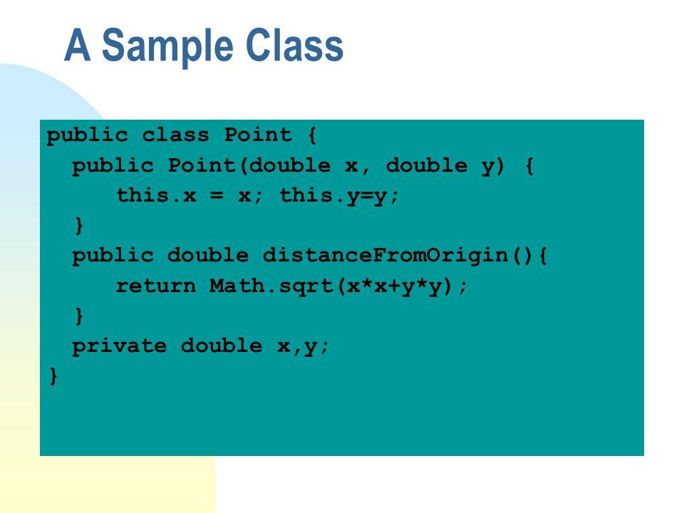 A Sample Class public class Point { public Point(double x, double y) {