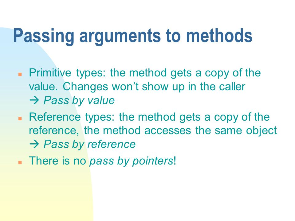 Passing arguments to methods