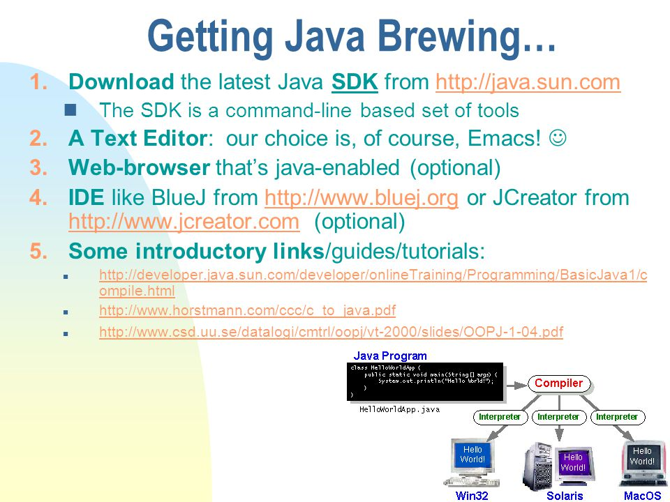 Getting Java Brewing… Download the latest Java SDK from http://java.sun.com. The SDK is a command-line based set of tools.
