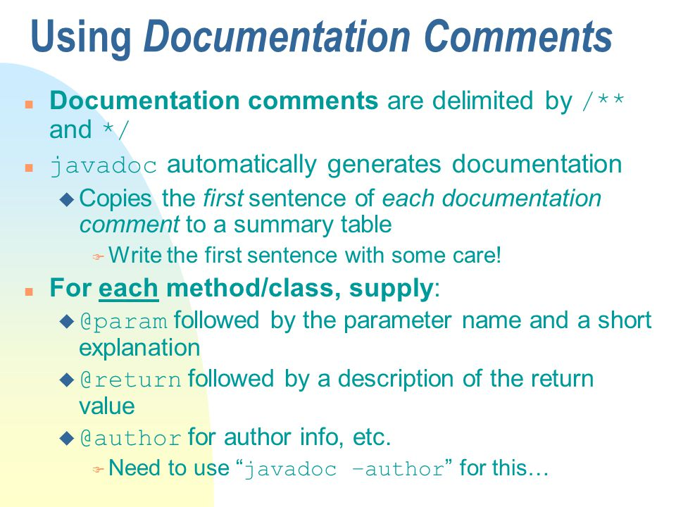 Using Documentation Comments