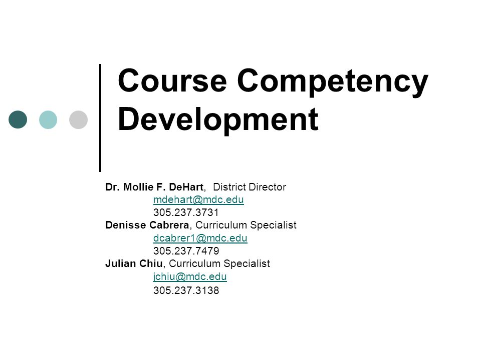 Course Competency Development